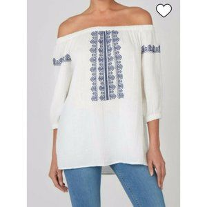 Beachlunchlounge embroidered off-shoulder top XL